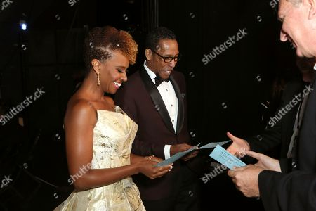 Ryan Michelle Bathe, Ron Cephas Jones. Ryan Michelle Bathe, left, and Ron Cephas Jones backstage at night two of the Television Academy's 2019 Creative Arts Emmy Awards, at the Microsoft Theater in Los Angeles
