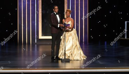 Ron Cephas Jones, Ryan Michelle Bathe. Ron Cephas Jones, left, and Ryan Michelle Bathe present the award for outstanding sound mixing for a comedy series or drama series on night two of the Television Academy's 2019 Creative Arts Emmy Awards, at the Microsoft Theater in Los Angeles
