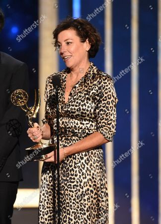"""Nina Gold accepts the award for outstanding casting for a drama series for """"Game of Thrones"""" on night two of the Television Academy's 2019 Creative Arts Emmy Awards, at the Microsoft Theater in Los Angeles"""