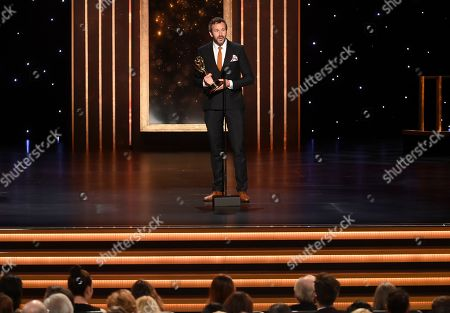 Chris O'Dowd accepts the award for outstanding actor in a short form comedy or drama series for State Of The Union on night two of the Television Academy's 2019 Creative Arts Emmy Awards, at the Microsoft Theater in Los Angeles