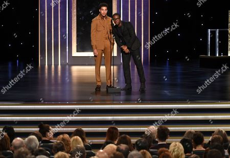 Shameik Moore, Marcus Scribner. Marcus Scribner, left, and Shameik Moore present the award for Outstanding Stunt Coordination for a Comedy Series or Variety Program on night two of the Television Academy's 2019 Creative Arts Emmy Awards, at the Microsoft Theater in Los Angeles