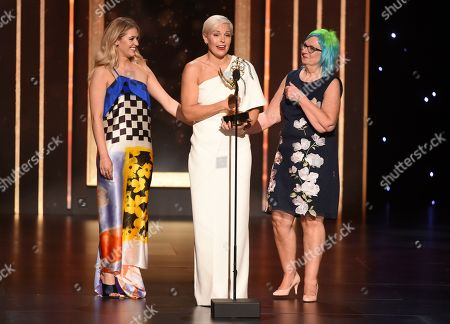 "Melissa Stanton, Charlotte Svenson, Jennifer Rogien. Charlotte Svenson, from left, Jennifer Rogien and Melissa Stanton accept the award for Outstanding Contemporary Costumes for Russian Doll, ""Superiority Complex"" on night two of the Television Academy's 2019 Creative Arts Emmy Awards, at the Microsoft Theater in Los Angeles"