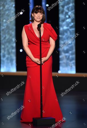 Rachel Bloom presents the award for Outstanding Production Design For A Narrative Program (Half-Hour) on night two of the Television Academy's 2019 Creative Arts Emmy Awards, at the Microsoft Theater in Los Angeles