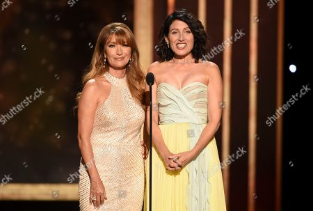 Lisa Edelstein, Jane Seymour. Jane Seymour, left, and Lisa Edelstein present the award for Outstanding Guest Actor in a Comedy Series on night two of the Television Academy's 2019 Creative Arts Emmy Awards, at the Microsoft Theater in Los Angeles