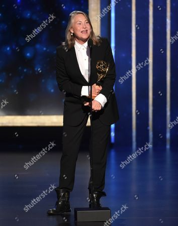 """EXCLUSIVE - Cherry Jones as Holly accepts the award for outstanding guest actress in a drama series for """"The Handmaid's Tale - Holly"""" on night two of the Television Academy's 2019 Creative Arts Emmy Awards, at the Microsoft Theater in Los Angeles"""