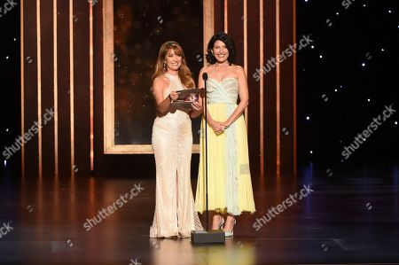 Jane Seymour, Lisa Edelstein. Jane Seymour, left, and Lisa Edelstein present the award for Outstanding Production Design for a Narrative Contemporary Program (One Hour or More) on night two of the Television Academy's 2019 Creative Arts Emmy Awards, at the Microsoft Theater in Los Angeles