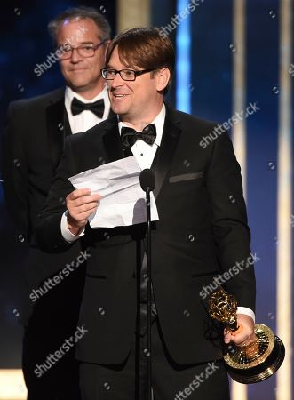"EXCLUSIVE - John Creed accepts the award for outstanding sound editing for a comedy or drama series and animation for ""Barry - Ronny/Lily"" on night two of the Television Academy's 2019 Creative Arts Emmy Awards, at the Microsoft Theater in Los Angeles"