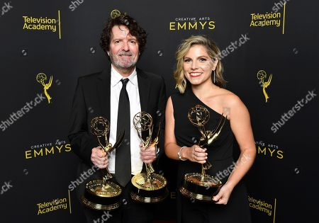 """Billy Hopkins, Ashley Ingram. Billy Hopkins,left, and Ashley Ingram pose for a portrait with the award for outstanding casting for a limited series, movie or special for """"When They See Us"""" on night two of the Television Academy's 2019 Creative Arts Emmy Awards, at the Microsoft Theater in Los Angeles"""