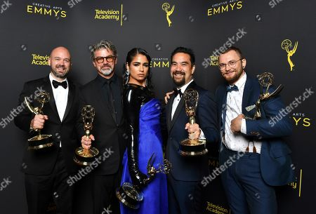 "Stock Photo of Ian Ruhfass, Angus Wall, Shahana Khan, Kirk H. Shintani, Rastam Hasanov. Ian Ruhfass, from left, Angus Wall, Shahana Khan, Kirk H. Shintani, and Rastam Hasanov from ""Game of Thrones"" pose with award for Outstanding main title design on night two of the Television Academy's 2019 Creative Arts Emmy Awards, at the Microsoft Theater in Los Angeles"