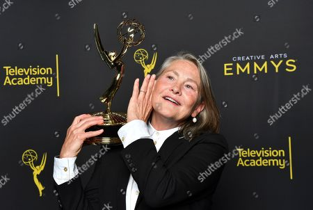 """Cherry Jones poses for a portrait with the award for outstanding guest actress in a drama series for """"The Handmaid's Tale"""" on night two of the Television Academy's 2019 Creative Arts Emmy Awards, at the Microsoft Theater in Los Angeles"""