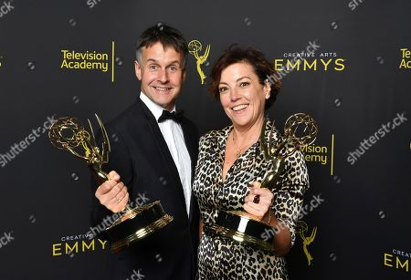 """Robert Sterne, Nina Gold. Robert Sterne, left, and Nina Gold pose for portrait for """"Game of Thrones"""" winner of the award for outstanding casting on night two of the Television Academy's 2019 Creative Arts Emmy Awards, at the Microsoft Theater in Los Angeles"""
