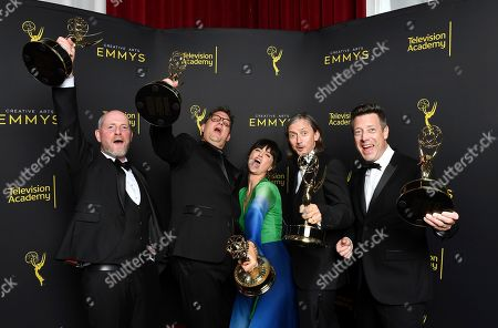 """Danny Crowley, Mathew Waters, Onnalee, Blank, Ronan Hill, Simon Kerr. Danny Crowley from left, Mathew Waters, Onnalee, Blank, Ronan Hill, and Simon Kerr from Game of Thrones pose for a portrait in the press room with the award for outstanding sound mixing for a comedy series or drama series for """"The Long Night"""" on night two of the Television Academy's 2019 Creative Arts Emmy Awards, at the Microsoft Theater in Los Angeles"""