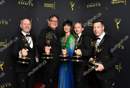 """Stock Photo of Danny Crowley, Mathew Waters, Onnalee, Blank, Ronan Hill, Simon Kerr. Danny Crowley from left, Mathew Waters, Onnalee, Blank, Ronan Hill, and Simon Kerr from Game of Thrones pose for a portrait in the press room with the award for outstanding sound mixing for a comedy series or drama series for """"The Long Night"""" on night two of the Television Academy's 2019 Creative Arts Emmy Awards, at the Microsoft Theater in Los Angeles"""