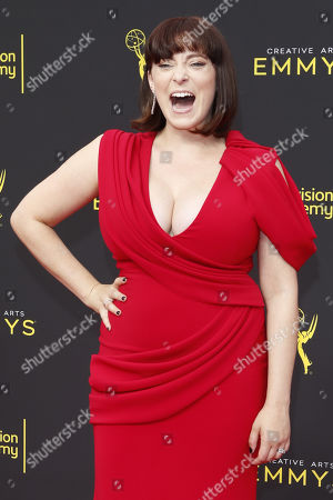 Rachel Bloom arrives for the 2019 Creative Arts Emmy Awards at the Microsoft Theater in Los Angeles, California, USA, 15 September 2019. The Creative Arts Emmy Awards honor excellence in Television technical categories such as makeup, casting direction, costume design, editing and cinematography. The 71st Primetime Emmy Awards Ceremony will take place on 22 September 2019.
