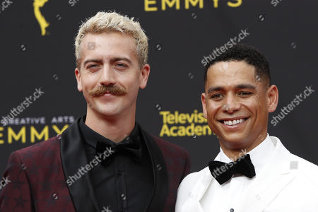 Charlie Barnett (R) and his partner Drew Bender (L) arrive for the 2019 Creative Arts Emmy Awards at the Microsoft Theater in Los Angeles, California, USA, 15 September 2019. The Creative Arts Emmy Awards honor excellence in Television technical categories such as makeup, casting direction, costume design, editing and cinematography. The 71st Primetime Emmy Awards Ceremony will take place on 22 September 2019.