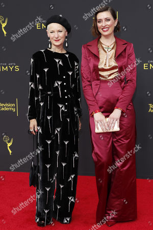 Stock Picture of Costumers Lou Eyrich (L) and Analucia McGorty (R) arrive for the 2019 Creative Arts Emmy Awards at the Microsoft Theater in Los Angeles, California, USA, 15 September 2019. The Creative Arts Emmy Awards honor excellence in Television technical categories such as makeup, casting direction, costume design, editing and cinematography. The 71st Primetime Emmy Awards Ceremony will take place on 22 September 2019.