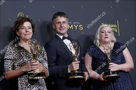 Nina Gold, Robert Sterne and Carla Stronge pose with the Outstanding Casting for a Drama Series Award for 'Game of Thrones' during the 2019 Creative Arts Emmy Awards at the Microsoft Theater in Los Angeles, California, USA, 15 September 2019. The Creative Arts Emmy Awards honor excellence in Television technical categories such as makeup, casting direction, costume design, editing and cinematography. The 71st Primetime Emmy Awards Ceremony will take place on 22 September 2019.