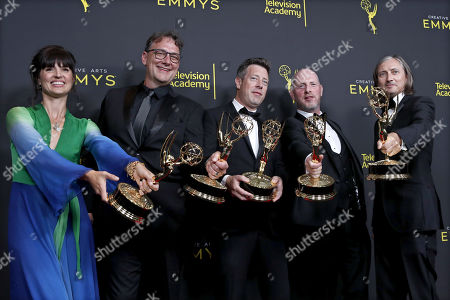 Stock Image of Onnalee Blank, Mathew Waters, Simon Kerr, Danny Crowley, and Ronan Hill pose with the Outstanding Sound Mixing for a Comedy or Drama Series (One Hour) Award for 'Game of Thrones' in the press during the 2019 Creative Arts Emmy Awards at the Microsoft Theater in Los Angeles, California, USA, 15 September 2019. The Creative Arts Emmy Awards honor excellence in Television technical categories such as makeup, casting direction, costume design, editing and cinematography. The 71st Primetime Emmy Awards Ceremony will take place on 22 September 2019.