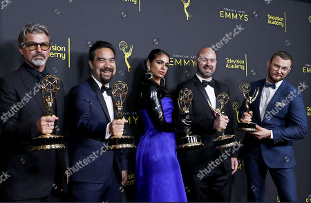 Stock Picture of Angus Wall, Kirk H. Shintani, Shahana Khan, Ian Ruhfass and Rustam Hasanov pose with the Outstanding Main Title Design Award for 'Game of Thrones' during the 2019 Creative Arts Emmy Awards at the Microsoft Theater in Los Angeles, California, USA, 15 September 2019. The Creative Arts Emmy Awards honor excellence in Television technical categories such as makeup, casting direction, costume design, editing and cinematography. The 71st Primetime Emmy Awards Ceremony will take place on 22 September 2019.