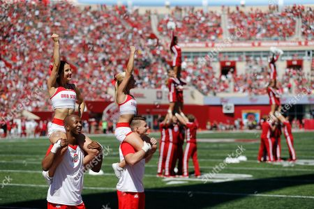 Ohio State cheerleaders cheer against Indiana University