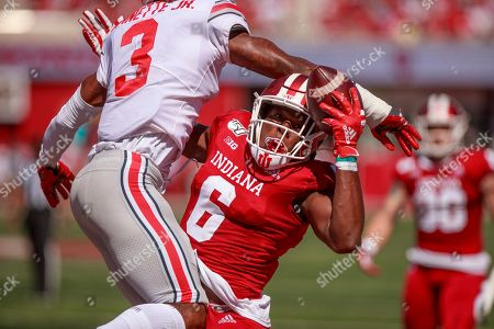 Indiana University's Donavan Hale (6) has his catch broken up against Ohio State's Damon Arnette Jr. (3)