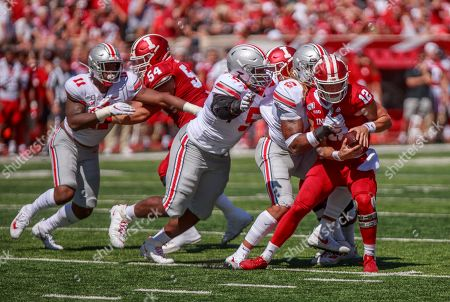 Indiana University quarterback Peyton Ramsey (12) is sacked by Ohio State