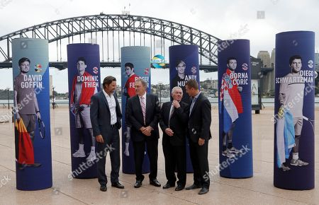 Stock Picture of Pat Rafter, John Newcombe, Ken Rosewall, Lleyton Hewitt. Australian former World number 1 tennis players, Pat Rafter, left, John Newcombe, Ken Rosewall, second right, and Lleyton Hewitt, right, pose for a photo following the draw for the ATP Cup 2020 in Sydney, . Eight teams from the six-day group stage will advance to the knockout rounds, which will continue in Sydney until Jan. 12