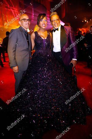 Stock Image of Carlton Pearson, Majeste Pearson and Ricky Minor. Carlton Pearson, from left, Majeste Pearson and Ricky Minor attend the Governors Ball during night two of the Television Academy's 2019 Creative Arts Emmy Awards, at the Microsoft Theater in Los Angeles