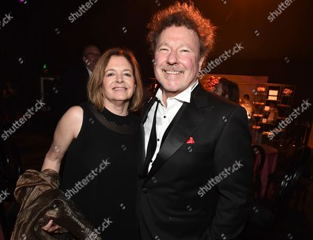 Stock Picture of Ann Leslie Uzdavinis, Michael Ruscio. Television Academy Governors Ann Leslie Uzdavinis, left, and Michael Ruscio attend the Governors Ball during night two of the Television Academy's 2019 Creative Arts Emmy Awards, at the Microsoft Theater in Los Angeles