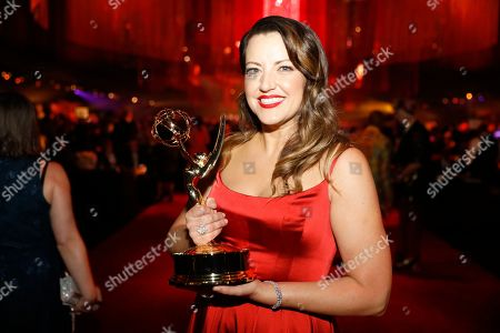 "Kathryn Burns, winner of the award for outstanding choreography for scripted programming for ""Crazy Ex-Girlfriend"", attends the Governors Ball during night two of the Television Academy's 2019 Creative Arts Emmy Awards, at the Microsoft Theater in Los Angeles"