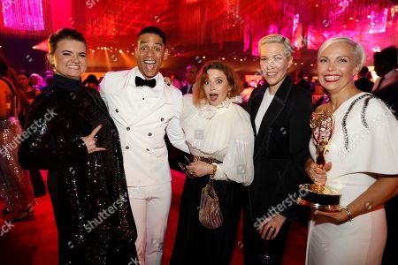 "Leslie Highland, Charlie Barnett, Natasha Lyonne, Rebecca Henderson, Jenn Rogien. Leslie Highland, from left, Charlie Barnett, Natasha Lyonne, Rebecca Henderson and Jenn Rogien, winner of the award for outstanding contemporary costumes, and the team from ""Russian Doll,"" attend the Governors Ball during night two of the Television Academy's 2019 Creative Arts Emmy Awards, at the Microsoft Theater in Los Angeles"