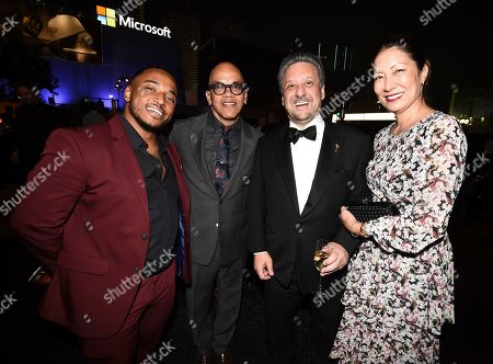 Sean Minor, Rickey Minor, Frank Scherma, Carrie Scherma. Sean Minor, from left, Rickey Minor, Television Academy Chairman and CEO, Frank Scherma and Carrie Scherma attend the Governors Ball during night two of the Television Academy's 2019 Creative Arts Emmy Awards, at the Microsoft Theater in Los Angeles