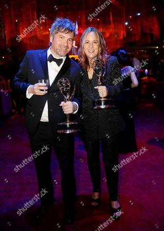 """David Klotz, Suzanne Keilly. David Klotz, left, poses with the award for outstanding sound editing for a comedy or drama series (one hour) for """"Game of Thrones"""" for """"The Long Night,"""" with Suzanne Keilly at the Governors Ball during night two of the Television Academy's 2019 Creative Arts Emmy Awards, at the Microsoft Theater in Los Angeles"""