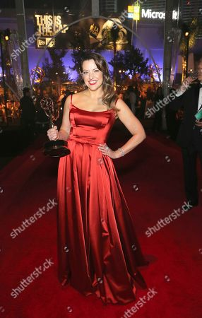 "Kathryn Burns, winner of the award for outstanding choreography for scripted programing for ""Crazy Ex-Girlfriend,"" attends the Governors Ball during night two of the Television Academy's 2019 Creative Arts Emmy Awards, at the Microsoft Theater in Los Angeles"