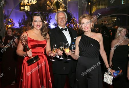"Kathryn Burns, Jeff Burns, Candace Burns. Kathryn Burns, left, winner of the award for outstanding choreography for scripted programing for ""Crazy Ex-Girlfriend,"" Jeff Burns, and Candace Burns attend the Governors Ball during night two of the Television Academy's 2019 Creative Arts Emmy Awards, at the Microsoft Theater in Los Angeles"
