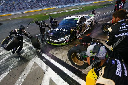 Aric Almirola (10) pits during a NASCAR Cup Series auto race at the Las Vegas Motor Speedway on