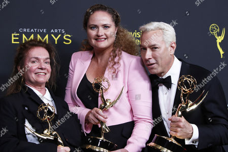 Donna Zakowska, Marina Reti, and Tim McKelvey pose in the press room with their awards for outstanding period costumes for 'The Marvelous Mrs. Maisel' during the 2019 Creative Arts Emmy Awards at the Microsoft Theater in Los Angeles, California, USA, 15 September 2019. The Creative Arts Emmy Awards honor excellence in Television technical categories such as makeup, casting direction, costume design, editing and cinematography. The 71st Primetime Emmy Awards Ceremony will take place on 22 September 2019.