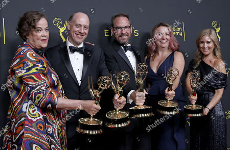 Brown Johnson, Benjamin Lehmann, Ken Scarborough, Mindy Fila, Karyn Leibovich and Stephanie Longardo pose with the Outstanding Children's Program Award for 'When You Wish Upon A Pickle: A Sesame Street Special' during the 2019 Creative Arts Emmy Awards at the Microsoft Theater in Los Angeles, California, USA, 15 September 2019. The Creative Arts Emmy Awards honor excellence in Television technical categories such as makeup, casting direction, costume design, editing and cinematography. The 71st Primetime Emmy Awards Ceremony will take place on 22 September 2019.