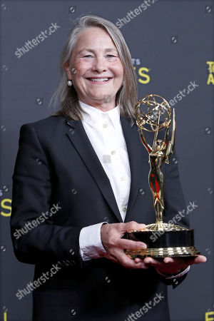 Cherry Jones poses with her award during the 2019 Creative Arts Emmy Awards at the Microsoft Theater in Los Angeles, California, USA, 15 September 2019. The Creative Arts Emmy Awards honor excellence in Television technical categories such as makeup, casting direction, costume design, editing and cinematography. The 71st Primetime Emmy Awards Ceremony will take place on 22 September 2019.