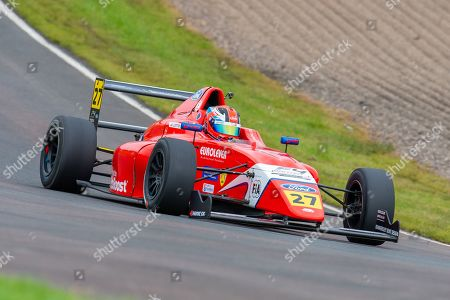 Alex Connor (GBR) of Arden Motorsport exits Butchers during Round 23 of the FIA Formula 4 British Championship at Knockhill Racing Circuit, Dunfermline