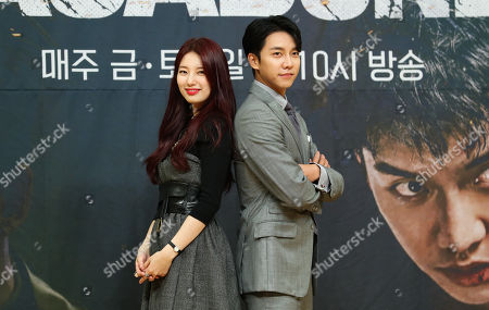 The stars of the new drama 'Vagabond', actor Lee Seung-gi and actress Bae Suzy pose for a photo during a showcase in Seoul, South Korea, 16 September 2019.