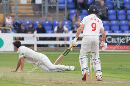 Nick Selman drives Chris Wright during the Specsavers County Champ Div 2 match between Glamorgan County Cricket Club and Leicestershire County Cricket Club at the SWALEC Stadium, Cardiff