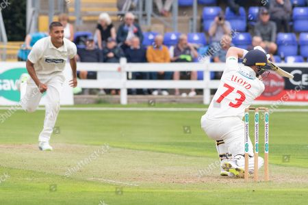 David Lloyd drives Ben Mike for 4 during the Specsavers County Champ Div 2 match between Glamorgan County Cricket Club and Leicestershire County Cricket Club at the SWALEC Stadium, Cardiff