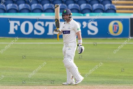 50 - David Lloyd acknowledges the crowd on reaching 50during the Specsavers County Champ Div 2 match between Glamorgan County Cricket Club and Leicestershire County Cricket Club at the SWALEC Stadium, Cardiff