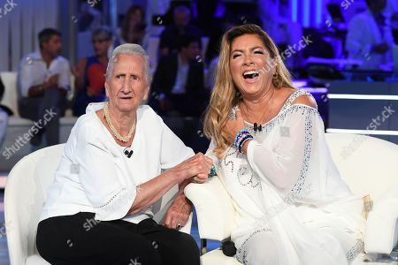 Stock Picture of Romina Power (R) with her midwife Mirella Mottes