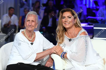 Stock Photo of Romina Power (R) with her midwife Mirella Mottes