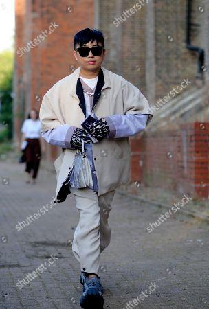 Declan Chan arrival for Simone Rocha fashion show, Alexander Palace, London.