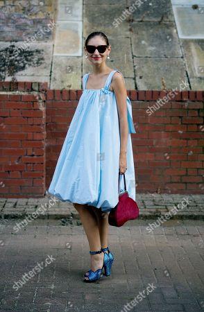 Jenny Walton after Simone Rocha fashion show, Alexander Palace, London.