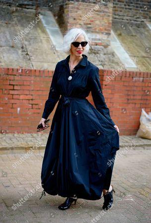Linda Fargo after Simone Rocha fashion show, Alexander Palace, London.
