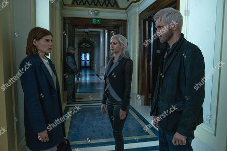 Stock Image of Emma Greenwell as Myfanwy Thomas, Catherine Steadman as Eliza Gestalt and Ronan Raftery as Robert Gestalt